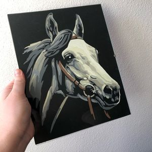 Vintage Wall Art - VINTAGE Hand Painted Horse Head Wall Art Black Fel